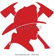 firefighter head helmet axes stock vector