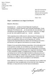 bureau des stages lettre de motivation stage architecte modèle de lettre