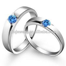 Steel Wedding Rings by 2016 Romantic Blue Diamond Couple Wedding Ring Stainless Steel