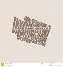Map Of Washington State Cities by Word Cloud Map Of Washington State Stock Vector Image 83751700