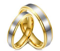 two tone wedding rings his matching two tone wedding ring band in 18k gold