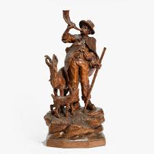 a small black forest wood carving of a shepherd c 1890