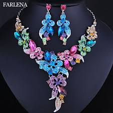 flower necklace wedding images Farlena wedding jewelry multicolor crystal rhinestones flower jpg