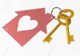 golden house keys with red heart shape house icon illustration