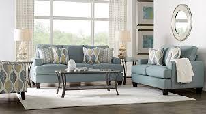 Living Room Blue Sofa Cypress Gardens Blue 7 Pc Living Room Living Room Sets Blue