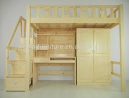 Wood Children Bunk Bed With Study Table And Wardrobe Buy Bunk - Study bunk bed