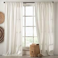 White Curtain Panel Linen Cotton Curtain White West Elm