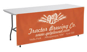 table banners and signs table front trade show banner a good sign