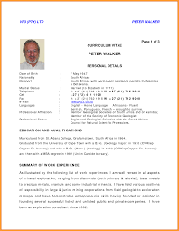 Professional Curriculum Vitae Samples Cv Format In Sa Letter Format Mail