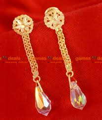 long rings design images Er038 trendy long gold plated white crystal ear ring jewellery jpg