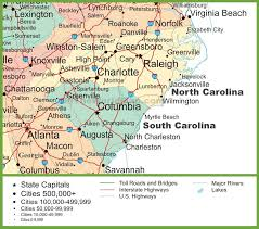 map of and south carolina