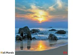 mural beautiful sea shore on sunset with blue shades wallpapers mural beautiful sea shore on sunset with blue shades