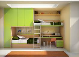 kids room sweet light green painted wood loft bed with desk