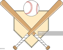 baseball with bats crossed over homeplate vector art getty images