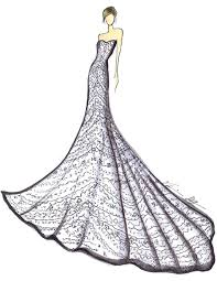 drawn wedding dress famous fashion designer pencil and in color