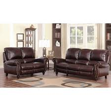 Leather Recliner Sofa And Loveseat Abbyson Madison Top Grain Leather Pushback Reclining 2 Piece