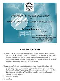 florida power light operations strategy fpl quality improvement case frequency