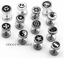 mens studs men s enamel earrings studs ebay