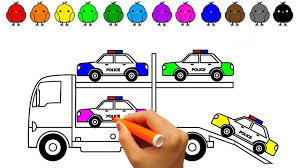 learn colors with police car coloring book colouring pages for