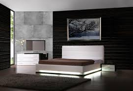 White Lacquer Modern Bedroom WLights  Optional Casegoods - White leather contemporary bedroom furniture