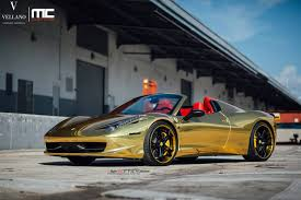 cars ferrari gold gold ferrari 458 spider with vellano forged wheels gtspirit