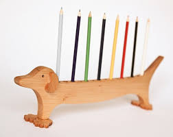 wood pen holder dachshund desk organizer pencil holder desk tidy