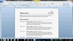 Creating A Resume With No Job Experience by How To Make An Easy Resume In Microsoft Word Youtube