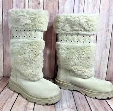 s yeti boots khombu s ivory suede leather slip on mid calf yeti boots