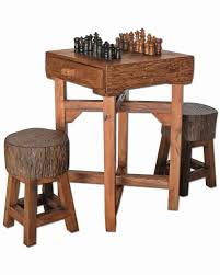 rustic western game room furniture chess table checker set