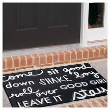 Doormat Leave Dog Commands Rubber Doormat Black 18