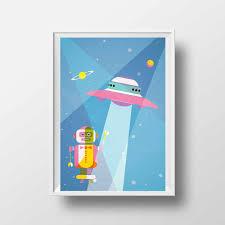 poster chambre b affiche enfant poster vintage enfant soucoupe volante
