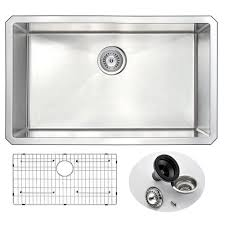 Undermount Single Bowl Kitchen Sinks - anzzi vanguard series undermount stainless steel 30 in 0 hole