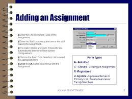 Assignment Form Anasazi Software Windows Client Data System Quick Reference Guide