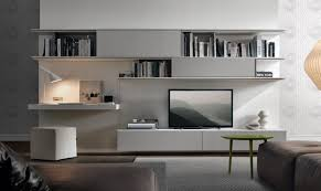decorations contemporary tv wall unit in wood also lacquered