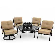 Aluminum Patio Furniture Set - rosedown 5 piece cast aluminum patio fire pit seating set with 2