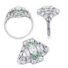 art deco diamond u0026 emerald estate vintage ring dc va md