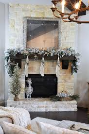a rustic mantle with flocked garland decor gold designs
