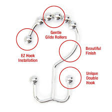 Roller Curtain Hooks Polished Chrome Double Hook Shower Curtain Rings 40 Orders Ship