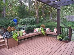 Deck Planters And Benches - trex deck with bridge benches and planter boxes in corvallis