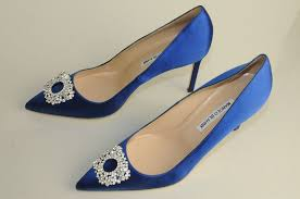 wedding shoes qatar new manolo blahnik bb 90 royal blue satin shoes pumps 39 5
