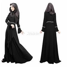Muslim Halloween Costume Islamic Muslim Women Long Sleeve Dress Length Abaya Kaftan