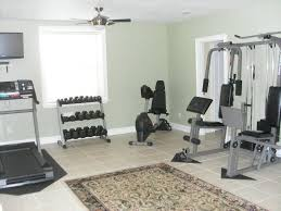interior open plan unfinished basement gym ideas in backyard