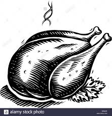 a drawing of a roast turkey ready to be served in black and white