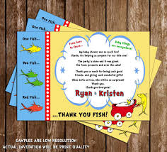 Baby Shower Invitations And Thank You Cards Novel Concept Designs Dr Seuss One Fish Two Fish Baby Shower