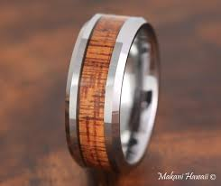 koa wedding bands tungsten koa wood inlaid mens wedding band 8mm makani hawaii