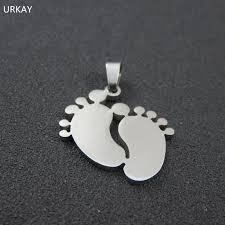 baby dog tags 3colors silver tone stainless steel baby foot pendant necklace