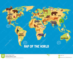 North America World Map by Animals World Map Stock Vector Image 62801784