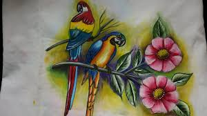 Flower And Bird - fabric painting birds leaves and flower painting part 1