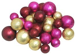 shatterproof merlot gold and fuschia ornaments