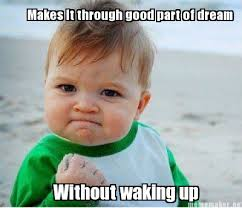 Dream Meme - meme maker makes it through good part of dream without waking up